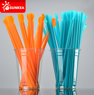 Plastic Drinking Straw with Spoon