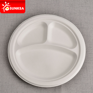 White 3 Compartments Sugarcane Pulp Bagasse Plate