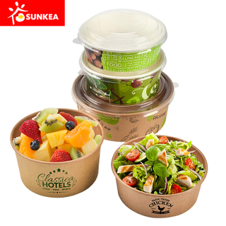 Custom Printed Disposable Paper Salad Bowl with Lid