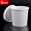White paper hot soup cup with paper lid