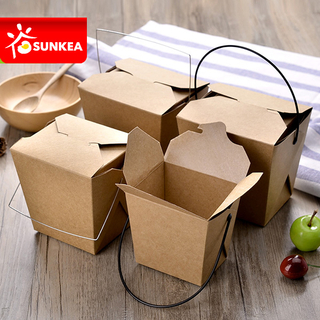 Takeaway Paper Noodle Box with Plastic Handle
