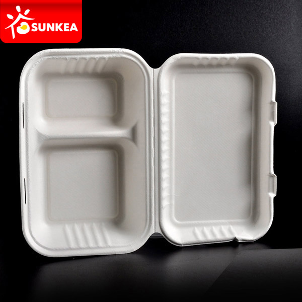 2 Compartment Compostable Sugarcane Pulp Lunch Box