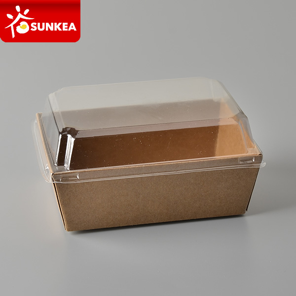 Kraft Salad Sushi Paper Box with Plastic Lid