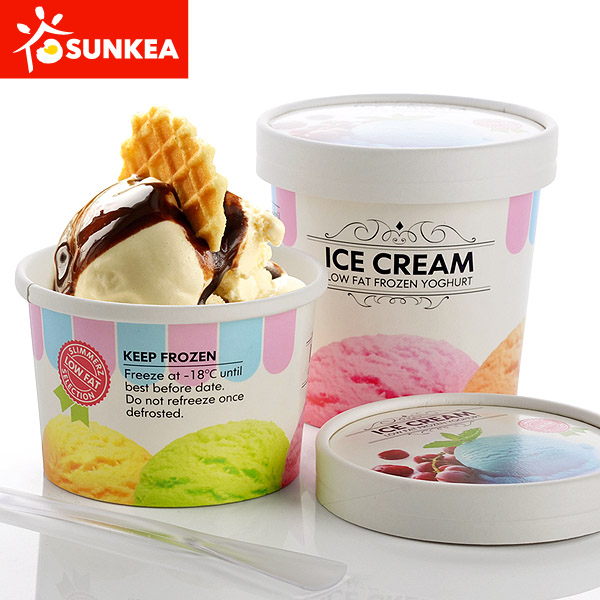 Logo Printed Paper Ice Cream Cup with Paper Lid