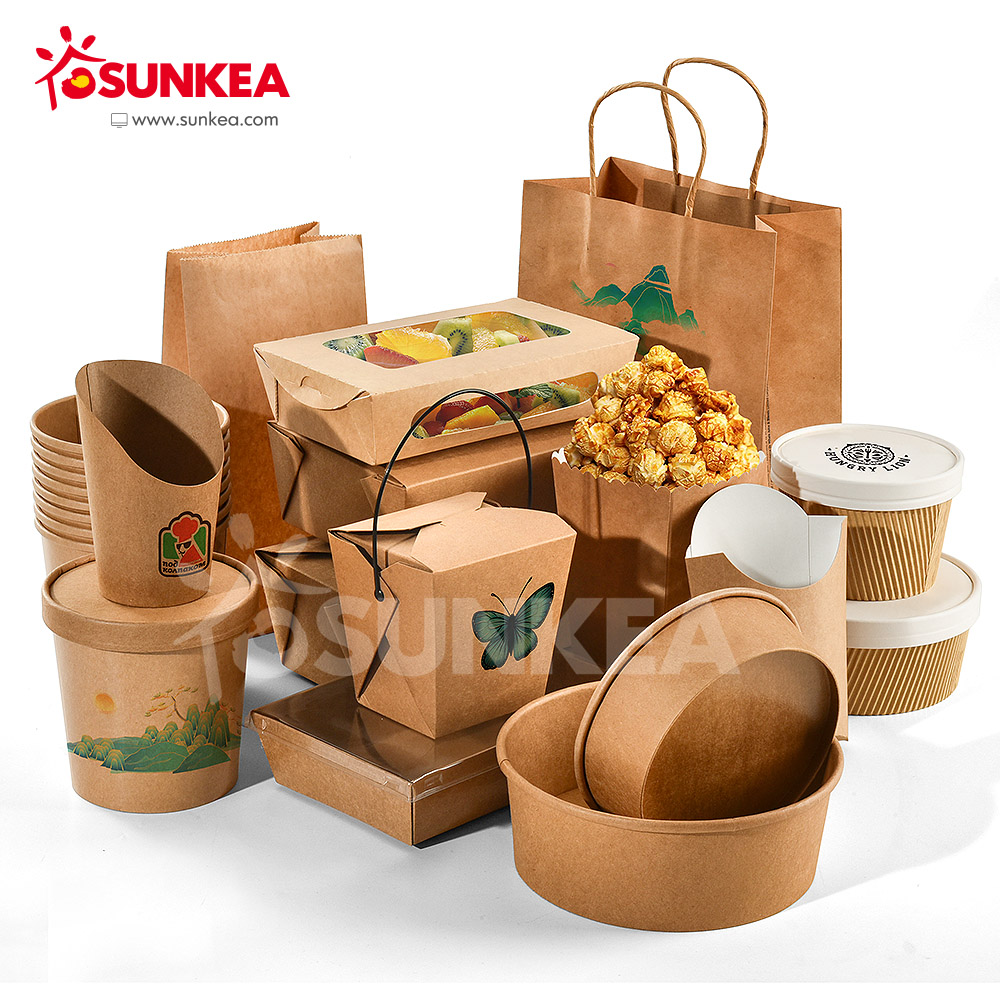 Sunkea wholesale disposable food packaging paper lunch box
