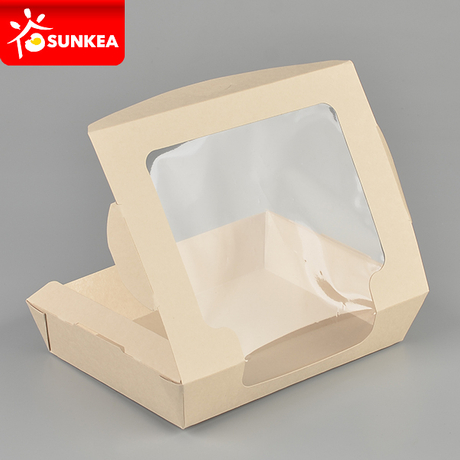 Bamboo fibre bamboo pulp paper salad box with 1 window