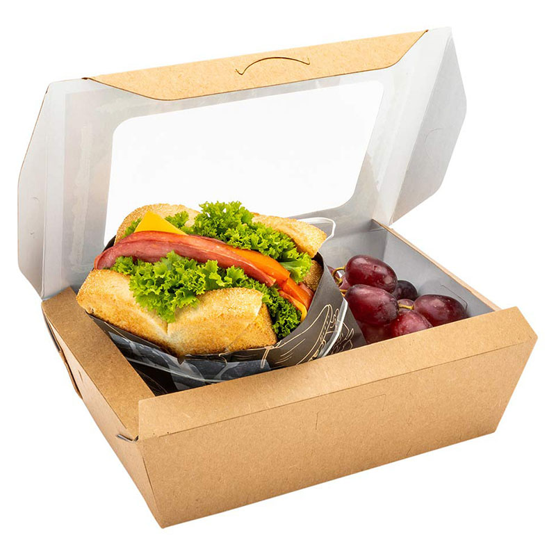 Disposable Custom Paper Salad Box with 2 windows