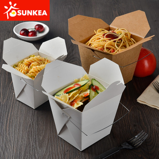 Take Away Kraft Paper Noodle Box with Wire Handle