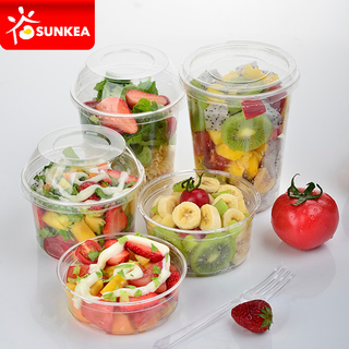 Clear Vegetable Fruit Salad PET Plastic Cup with Lid