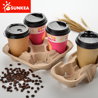 Paper Pulp Mould Coffee Cup Holder / Carrier