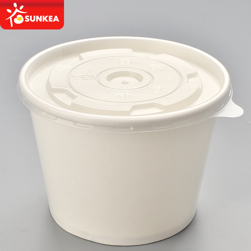 Disposable short paper soup cup with paper lid