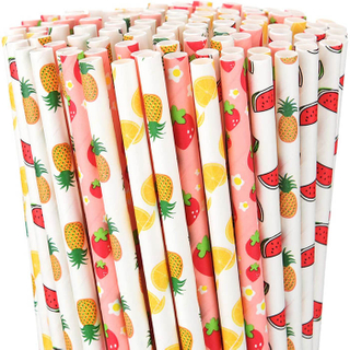 Sunkea printed fruit logo custom drink straws for takeaway