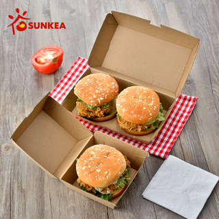 Sunkea factory price Kraft paper burger box for food